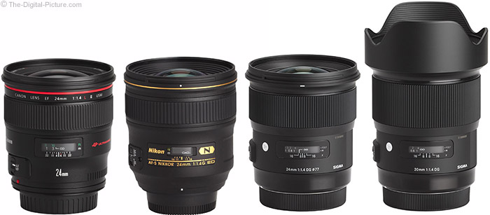 Sigma 20mm f/1.4 DG HSM Art Lens Compared to Similar Lenses