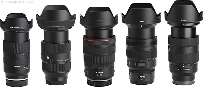 Sigma 24-70mm f/2.8 DG DN Art Lens Compared to Similar Lenses with Hoods