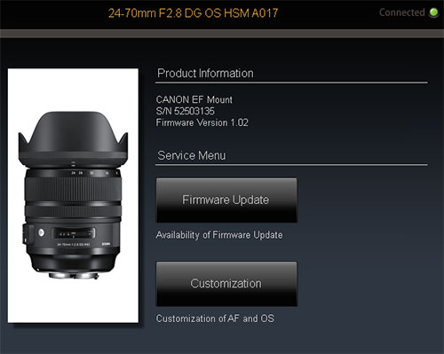 Sigma 24-70mm f/2.8 OS Art Lens Dock Compatibility