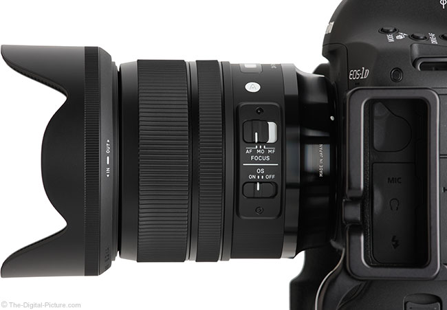 Sigma 24-70mm f/2.8 OS Art Lens Side View with Hood
