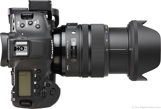 Sigma 24-70mm f/2.8 OS Art Lens Extended Top View with Hood