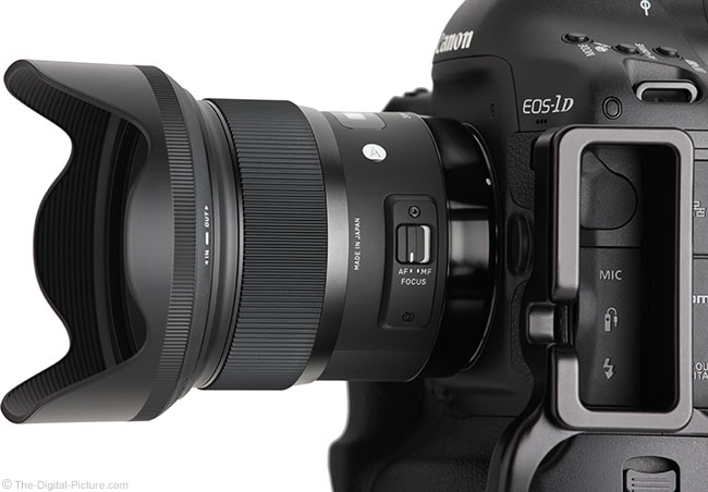 Sigma 24mm f/1.4 Art Lens Side-Angle View with Hood