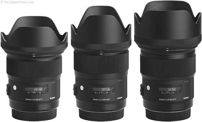 Sigma f/1.4 Art Lens Family Picture including Hoods