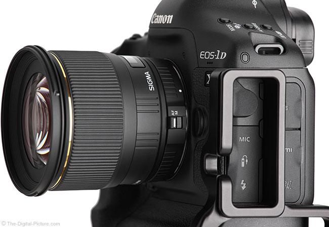Sigma 24mm f/1.8 EX DG Lens Side View