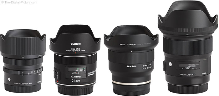 Sigma 24mm f/3.5 DG DN Contemporary Lens Compared to Similar Lenses with Hoods