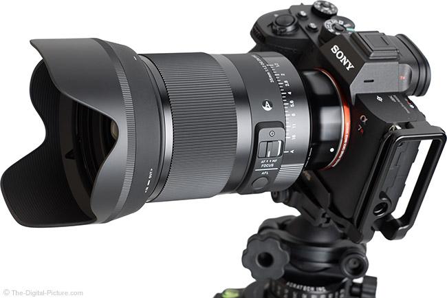 Sigma 35mm f/1.2 DG DN Art Lens Angle View with Hood