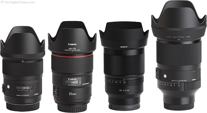 Sigma 35mm f/1.2 DG DN Art Lens Compared to Similar Lenses with Hoods
