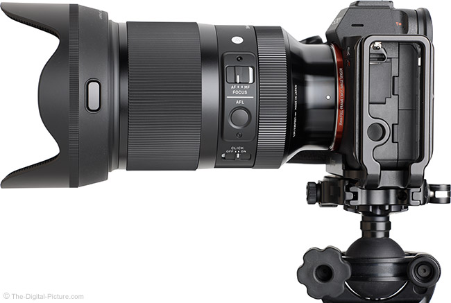 Sigma 35mm f/1.2 DG DN Art Lens Side View with Hood