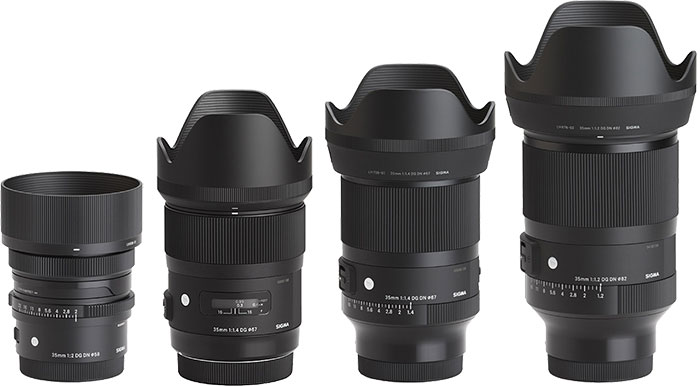 Sigma 35mm Lenses with Hoods