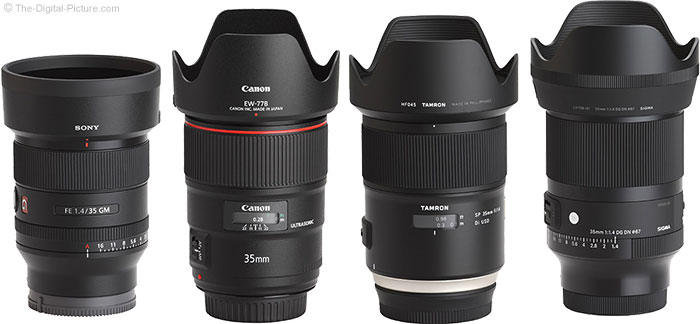 Sigma 35mm f/1.4 DG DN Art Lens Compared to Similar Lenses with Hoods