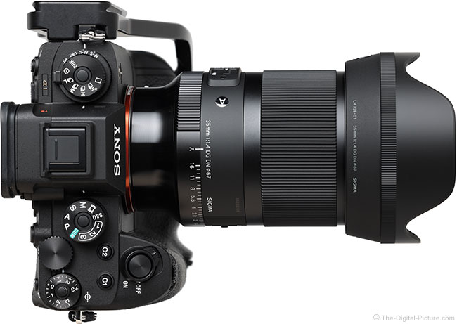 Sigma 35mm f/1.4 DG DN Art Lens Top View with Hood