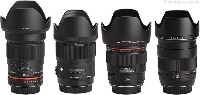 Sigma 35mm f/1.4 DG HSM Art Lens Compared to Similar Lenses with Hoods