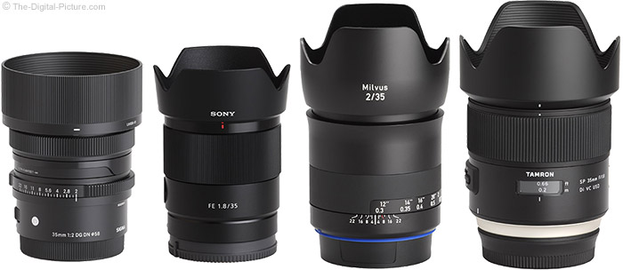 Sigma 35mm f/2 DG DN Contemporary Lens Compared to Similar Lenses with Hoods