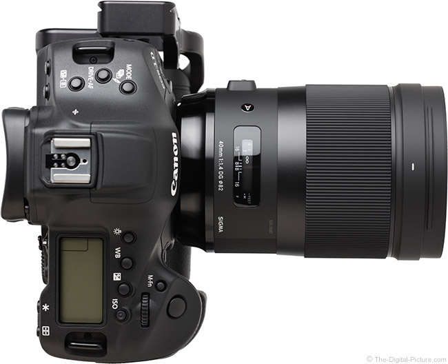 Sigma 40mm f/1.4 DG HSM Art Lens Top View