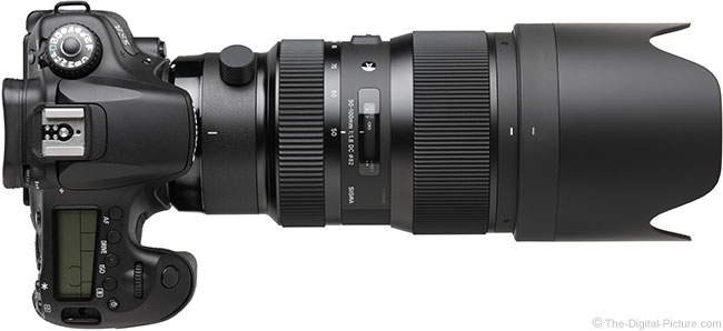 Sigma 50-100mm f/1.8 DC HSM Art Lens Top View with Hood