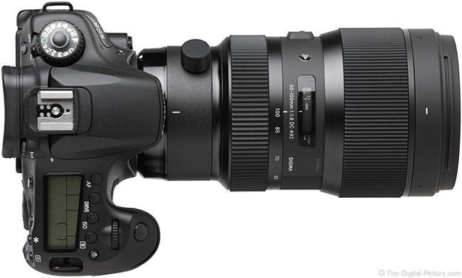 Sigma 50-100mm f/1.8 DC HSM Art Lens Top View