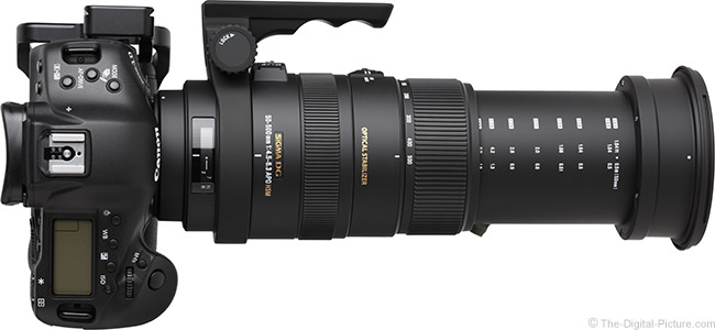 Sigma 50-500mm f/4.5-6.3 DG OS HSM Lens Top View