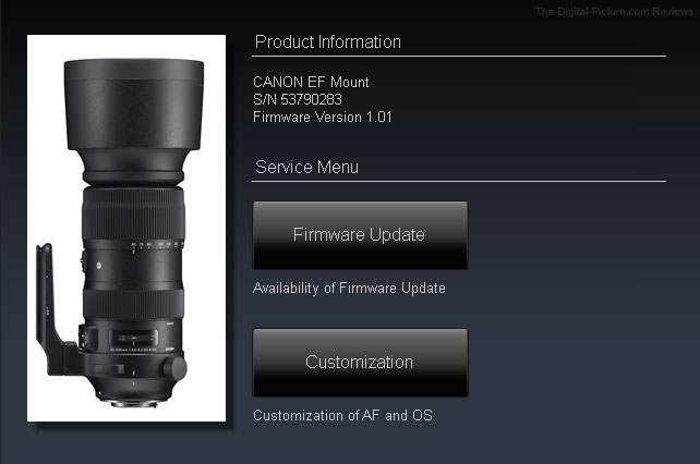 Sigma 60-600mm f/4.5-6.3 DG OS HSM Sports Lens Dock Compatibility