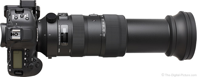 Sigma 60-600mm f/4.5-6.3 DG OS HSM Sports Lens Extended Top View