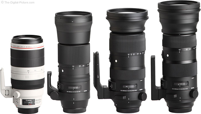 Sigma 60-600mm f/4.5-6.3 DG OS HSM Sports Lens Compared to Similar Lenses