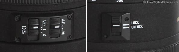 Sigma 80-400mm f/4.5-5.6 EX DG OS Lens Switches