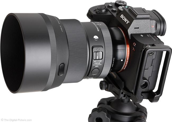 Sigma 85mm f/1.4 DG DN Art Lens Angle View with Hood