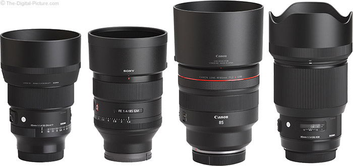 Sigma 85mm f/1.4 DG DN Art Lens Compared to Similar Lenses with Hoods
