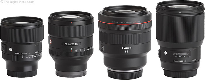 Sigma 85mm f/1.4 DG DN Art Lens Compared to Similar Lenses