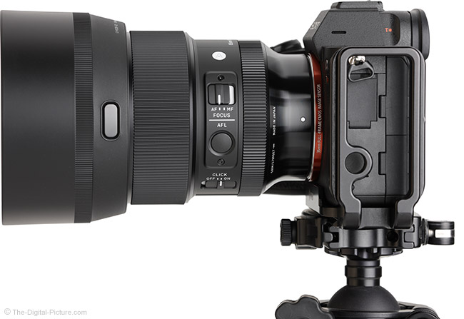 Sigma 85mm f/1.4 DG DN Art Lens Side View with Hood