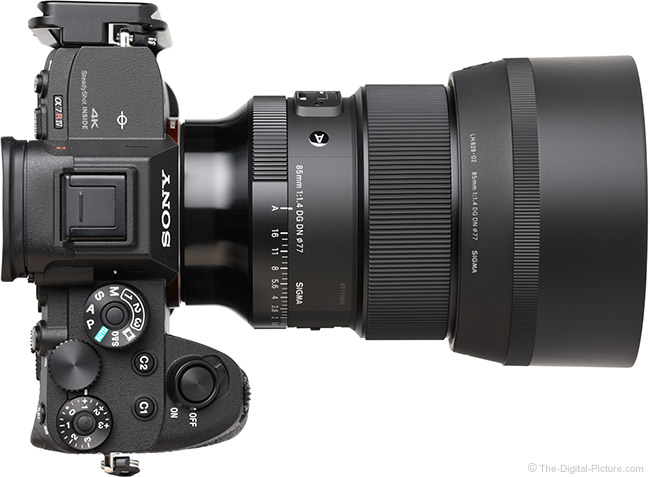 Sigma 85mm f/1.4 DG DN Art Lens Top View with Hood