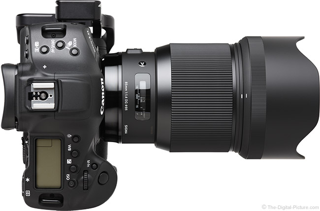 Sigma 85mm f/1.4 DG HSM Art Lens Top View with Hood