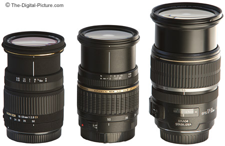 Sigma, Tamron and Canon Digital Camera Lenses Size Comparison - Extended