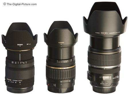 Sigma, Tamron and Canon Digital Camera Lenses Size Comparison - Extended With Hoods
