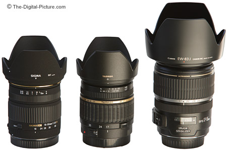 Sigma, Tamron and Canon Digital Camera Lenses Size Comparison - With Hoods