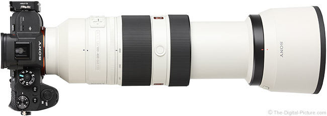 Sony FE 100-400mm GM OSS Lens Extended Top View with Hood