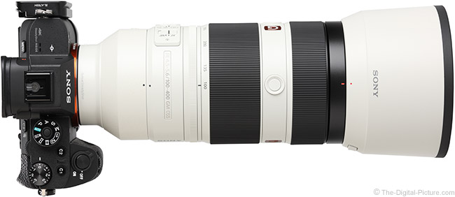Sony FE 100-400mm GM OSS Lens Top View with Hood