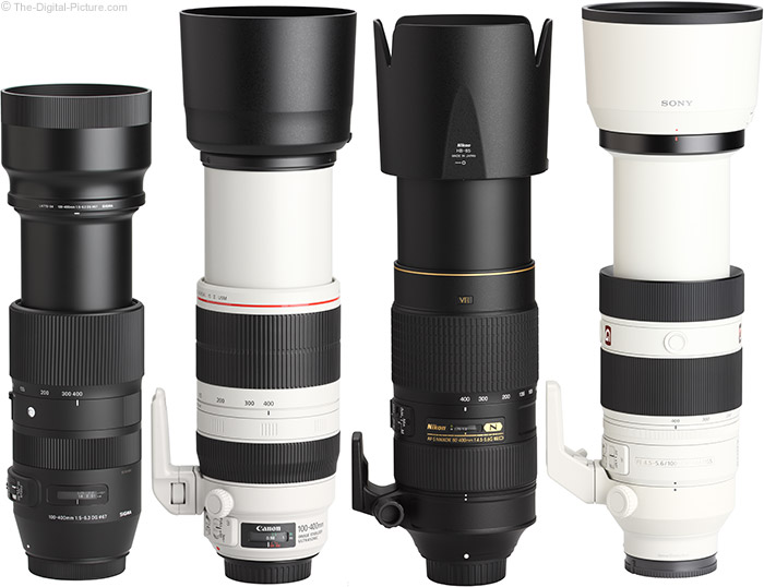 Sony FE 100-400mm GM OSS Lens Compared to Similar Lenses with Hoods