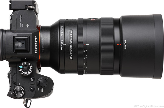 Sony FE 100mm f/2.8 STF GM OSS Lens Top View with Hood