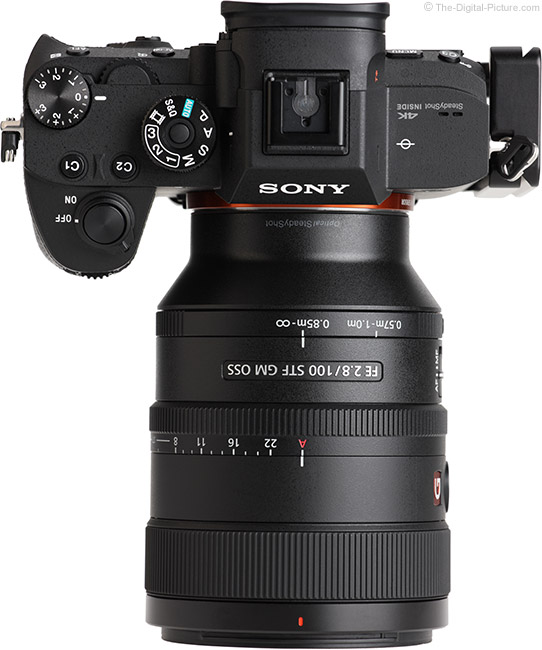Sony FE 100mm f/2.8 STF GM OSS Lens Top View