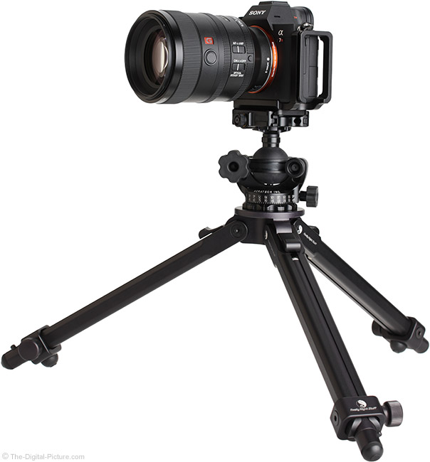 Sony FE 100mm f/2.8 STF GM OSS Lens on Tripod