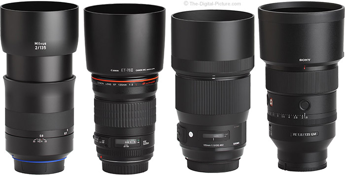 Sony FE 135mm f/1.8 GM Lens Compared to Similar Lenses with Hoods