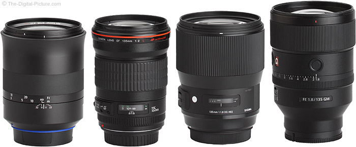 Sony FE 135mm f/1.8 GM Lens Compared to Similar Lenses