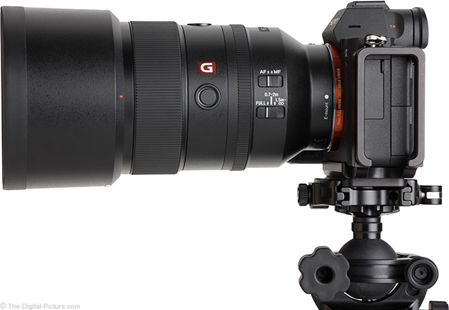 Sony FE 135mm f/1.8 GM Lens Side View with Hood