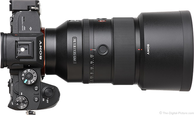 Sony FE 135mm f/1.8 GM Lens Top View with Hood