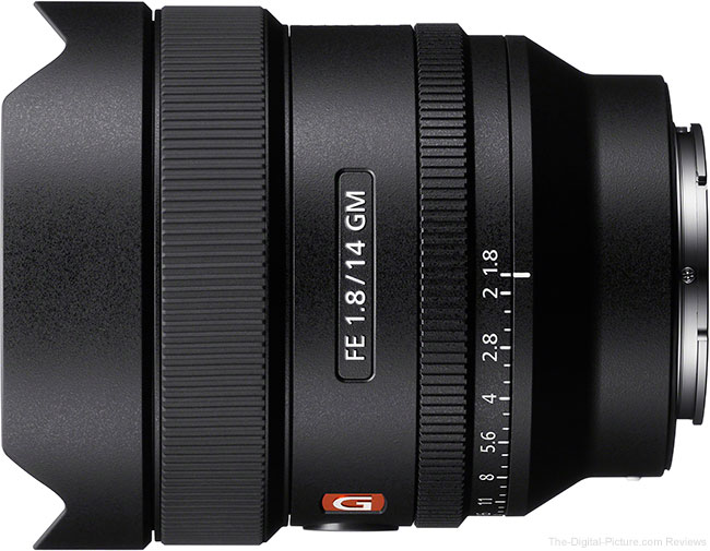 Sony FE 14mm f/1.8 GM Lens Top View with Hood