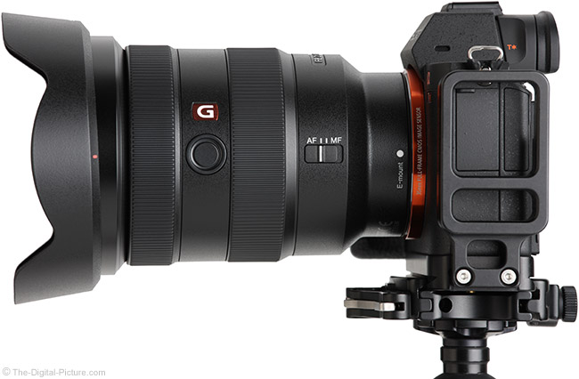 Sony FE 16-35mm f/2.8 GM Lens Side View with Hood