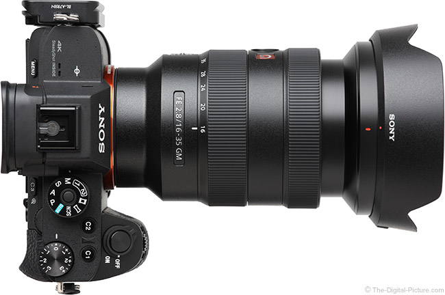 Sony FE 16-35mm f/2.8 GM Lens Extended Top View with Hood