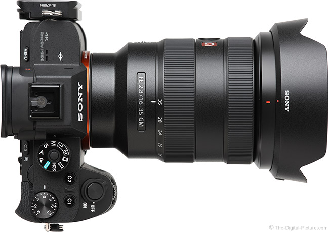 Sony FE 16-35mm f/2.8 GM Lens Top View with Hood