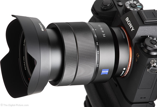 Sony FE 16-35mm f/4 ZA OSS Lens Extended View with Hood