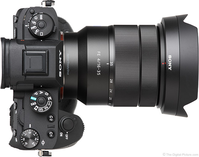 Sony FE 16-35mm f/4 ZA OSS Lens Top View with Hood